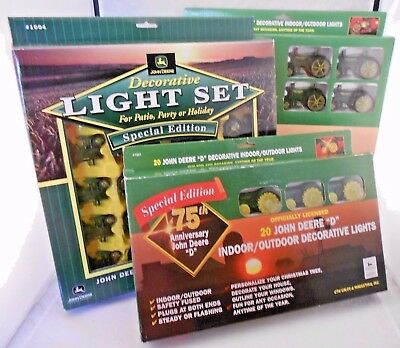 Lot of 3 John Deere Model Tractor Light Sets 20 String Christmas Party NEW