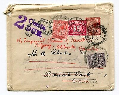 Canada / UK 1924 Shortpaid Cover Redirected Cover to Canada - Dual Postage Dues