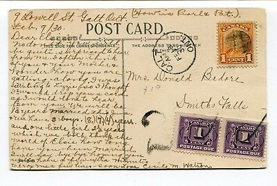 Canada ONT Ontario - Galt 1930 Scroll Issue Postage Due Postcard to Smiths Falls