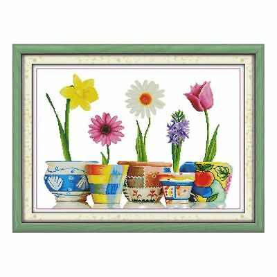 DIY Cross Stitch Hand embroidery Five vases 14 Count 62 * 46 cm V7Q3 P4H0