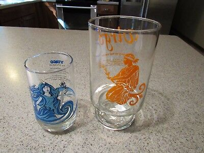 VIRGO! - Set of 2, Classic, 1970s, Astrological, Drink Glasses, New, Clean