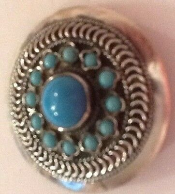 Beautiful Sterling Silver And Turquoise Brooch