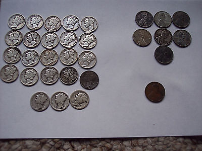 Lot Of 31 coins-(23) silver dimes-(7) 1943 pennies (1) 1910 penny