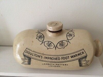 "Vintage Antique Stoneware Doulton Improved Foot Warmer 10"" Theatre Play Stage"