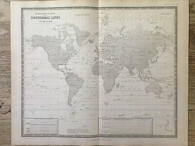 1843 Isothermal World Chart Antique Physical Map By Berghaus & Johnston