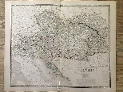 1843 Austria Hungary Hand Coloured Antique Map From Johnston's National Atlas