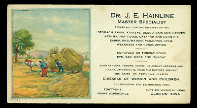 1920s Clinton Iowa Unused Ink blotter Dr. J. E. Hainline Homeopathic cures