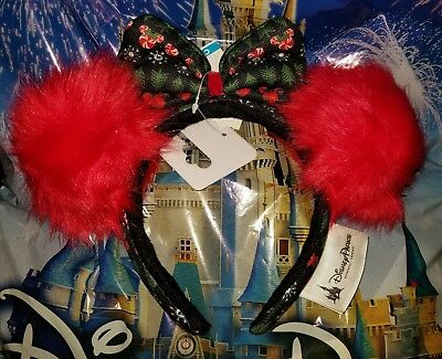 NEW Disney Parks UGLY CHRISTMAS SWEATER Red Pom Pom Minnie Ears Headband Holiday