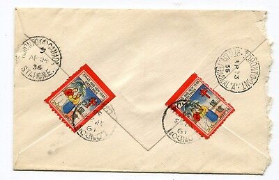 Canada ONT London 1936 Silver Jubilee Registered Cover / TB Seals Tied on Back