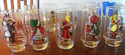 LOT 9 COCA-COLA HOLLY HOBBIE GLASS Drinking Vintage American Greetings VG