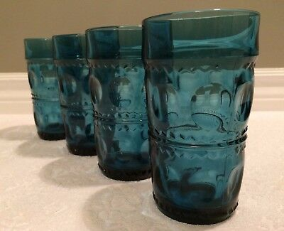 Retro Indiana '70s; Set-of-4 Riviera-Blue King's Crown Thumbprint 12oz Iced-Teas
