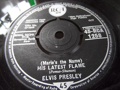 "Elvis Presley (Marie's The Name) His Latest Flame 7"" Single RCA 1961 Ex Cond.."