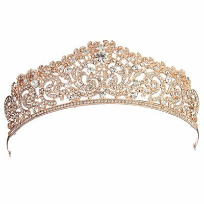 Wedding Bridal Rose Gold Crystal Rhinestone Pageant Tiara Crown Party Headb R3F2