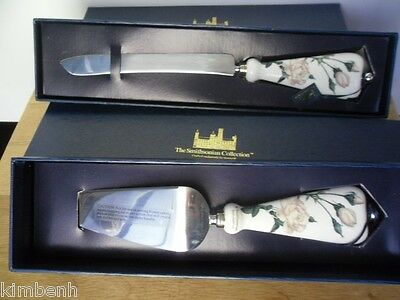 American Beauty Rose Cake Server & Knife Set,The Smithsonian Collection /Goebel