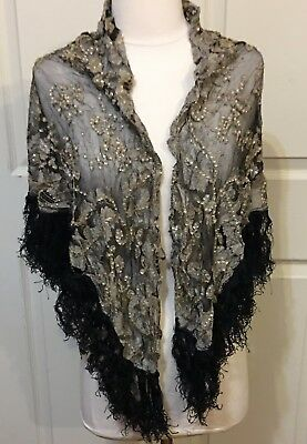 Antique Victorian One Size Lace/GemRhinestones Black Sheer Shimmery Scarf/Shawl