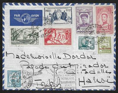 Vietnam Viet Nam Saigon 1938 1Er Vol Saigon Hanoi 1938 Air France Lettre Cover