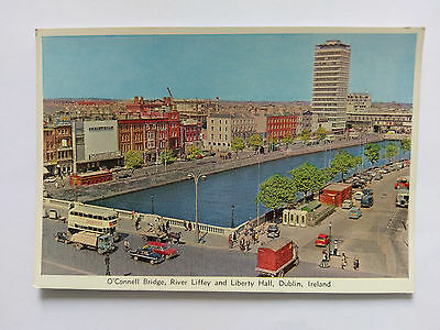 Dublin Ireland Vintage colour Postcard c1960s O'Connell Bridge Liberty Hall