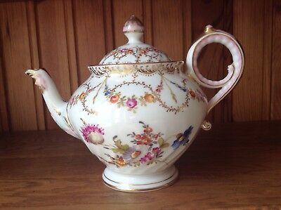 Antique Dresden Teapot Decorated With Flowers & Unusual Mask Spout