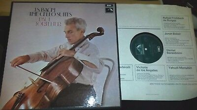 SLS 798/3 Bach THE CELLO SUITES Tortelier UK 1st HMV BOX SET EX/EX+