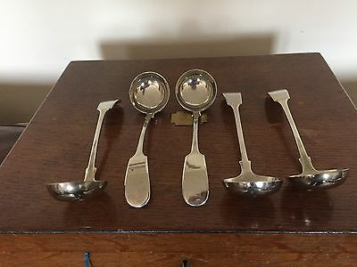 Lovely Selection Of Five (5) Lovely Silver Plated Fiddle Pattern Sauce Ladles