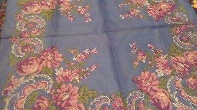 vintage head scarf square  blue with pink flowers