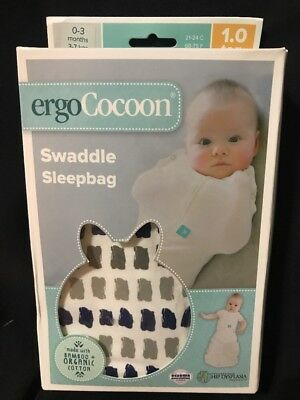 Ergo Cocoon Swaddle Sleepbag Org Cotton 0-3mths Navy Paint 1.0 tog Spring Fall