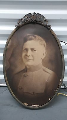 Antique Wwi Us Army Soldier Oval Frame Convex Bubble Glass Picture Military 1602