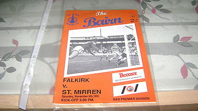 falkirk v st mirren 91/92 scottish premier division programme very good cond