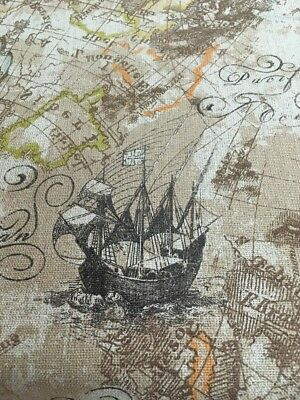 Vintage Look Ships  , Rustic, Linen , World Map Drapery/Upholstery Fabric 54 Bty