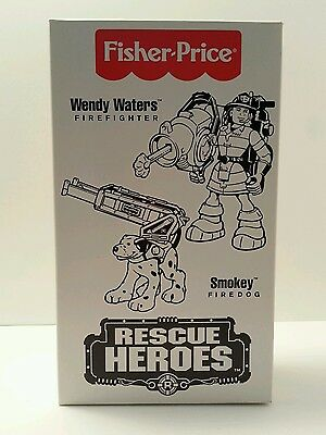 Fisher Price Rescue Heroes Wendy Waters Firefighter & Her Dalmatian Dog Smokey