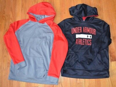 Lot of 2 Boys Hoodie Sweatshirts Sz L Large Under Armour & REEBOK Gray Red Black