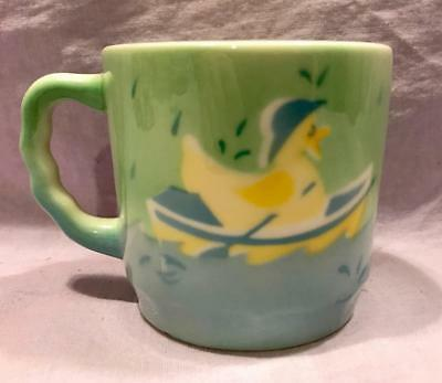 Vintage Antique Syracuse China Air Brush Blue Green Chicken In Boat Cup Mug