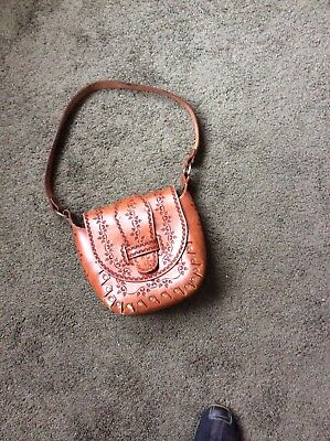 HAND TOOLED LEATHER SHOULDER BAG CIRCA 1970's HAND STUDDED