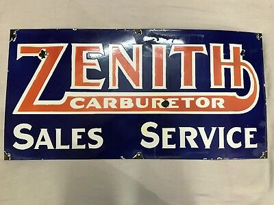 "Zenith Carburetor Sales Service Porcelain Enamel Sign 33""X18"""