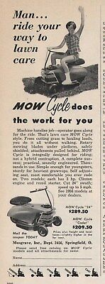 Vintage 1956 MUSGRAVE Mow Cycle Lawn Mower Print Ad Springfield, OH