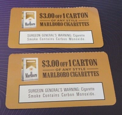 (2) $3.00 off a carton of ANY STYLE Marlboro Cigarettes Coupons expires 12/31/17