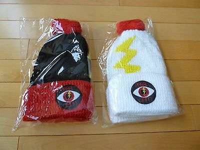 "(2) 2014 Pearl Jam Spacecraft ""lightning Bolt"" Beanies Black/white - Sold Out!"