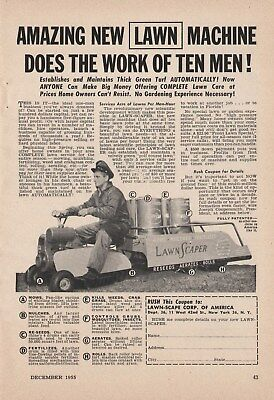 Vintage 1955 LAWN SCAPE Lawn Mower, Lawn Cart Print Ad New York, NY