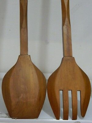 Retro Wall Hanging V/ Lrg Wooden Fork & Spoon W/ Wood Turning Handle 110Cm Long