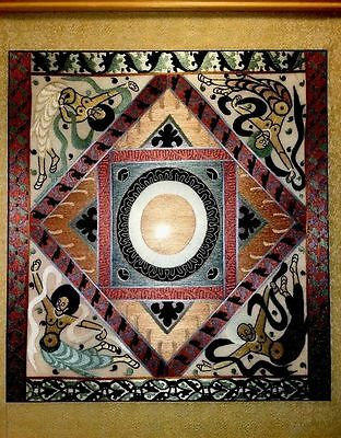 Framed Painting African Silk Hand Embroidered Panel Covered In Plexiglas