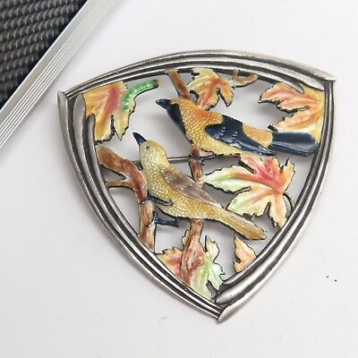 Oriole Songbird Pair Worm & Autumn Maple Leaves Enamel Sterling Silver Pin 19.2g