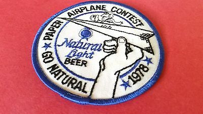 """1978 3 Inch  Natural Light Beer """"go Natural Airplane Contest"""" Unused Patch-Nice"""