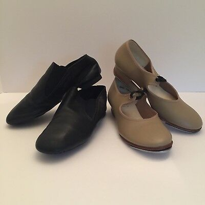 Girls CAPEZIO Tan Tap Shoes Size 1.5 Revolution Black Jazz 4 (Same as Womens 6)