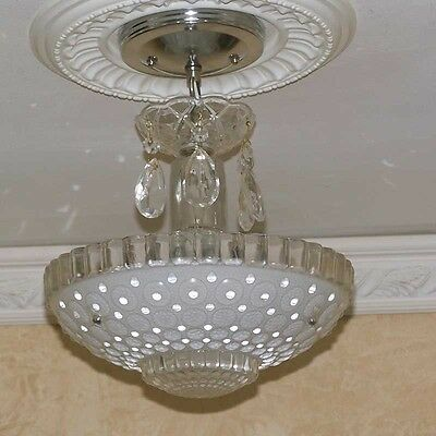 166b Vintage aRT DEco CEILING LIGHT chandelier fixture glass White 3 Light 1of 2