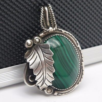 VTG Ervin Tsosie Navajo Malachite Sterling Silver Feather Bead Pendant 22.4g