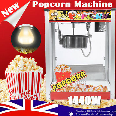 Pro 1440W Electric Popcorn Maker Machine Large Stainless Steel Popper Home Party