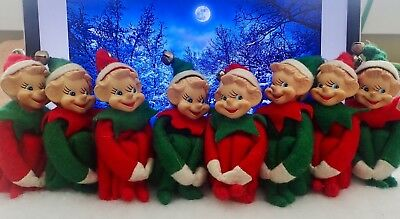 Vintage Elves Set of 8 Christmas Decoration