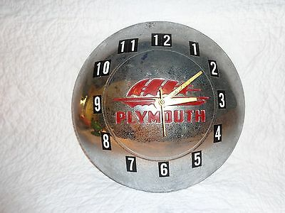 Vintage Plymouth Automobile Converted Hubcap Wall Clock, Electric, Works!