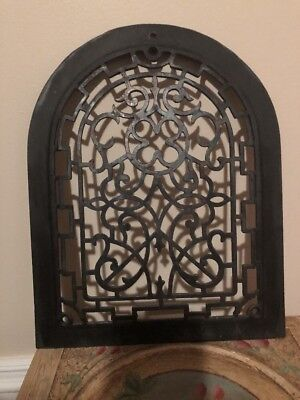 Antique original Ornate Arched Victorian Cast Iron Vent Cover Metal Grate 14x11""