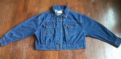 dELiA*s Girls' Crop Denim Jacket Long Wide Dolman Style Sleeves Med Wash Size L